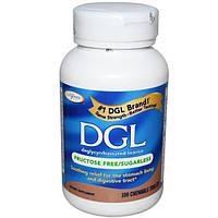 Enzymatic Therapy, DGL, деглициризированная солодка, без фруктозы и сахара, 100 жевательных таблеток
