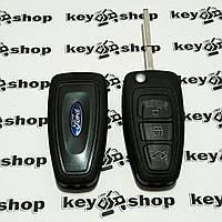Корпус выкидного ключа для FORD (Форд) Fiesta, Focus, C-Max, Mondeo, Galaxy, Transit, 3 кнопки , лезвие HU101