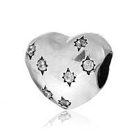 """Серебряный шарм с камнями """"Сердце"""""""