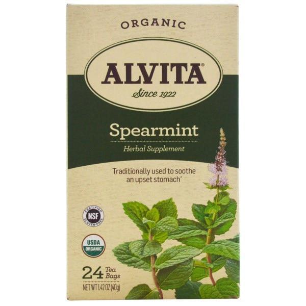 Alvita Teas, Organic, чай с мятой колосовой, без кофеина, 24 чайных пакетика по 1,42 унции (40 г) каждый