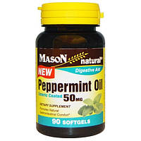Mason Naturals, Масло мяты перечной, 50 мг, 90 капсул