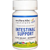Eclectic Institute, Intestinal Support (поддержка ЖКТ), черный орех и полынь, 350 мг, 45 вегетарианских капсул