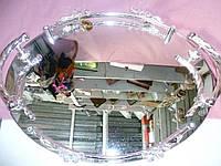 Поднос зеркальный с посеребренными ручками и кристаллами (Юнион) AR-1268, 46х36 сантиметров