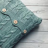 Подушка декоративная Ohaina на пуговицах вязаная в косы 40х40  цвет мята, фото 1