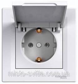 Розетка с заземлением с крышкой белый Sсhneider Electric Asfora Шнайдер Асфора