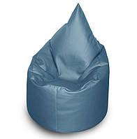 Голубое бескаркасное кресло мешок Капелька из кож зама Зевс