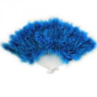 Веер перо голубой