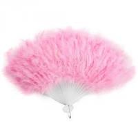 Веер перо розовый