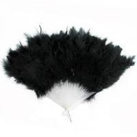Веер перо черный