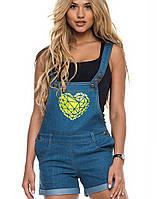 Джинсовый женский комбинезон с шортами | 6114 sk синий с желтым