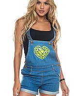 Джинсовый женский комбинезон с шортами | 6114 sk св.синий с желтым