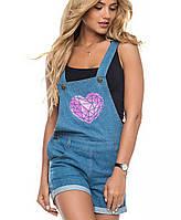 Джинсовый женский комбинезон с шортами | 6114 sk св.синий с розовым