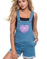 Джинсовый женский комбинезон с шортами | 6114 sk синий с розовым