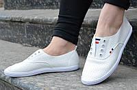 Кроссовки, мокасини женские белые удобные для прогулок (Код: 580) 2017