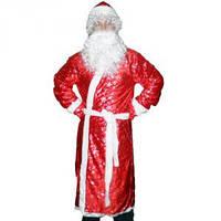 Карнавальный костюм Деда Мороза с рисунком красный