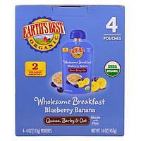 Earths Best, Цельнозерновой завтрак с черникой, бананом, киноа, ячменем и овсом, для детей от 6 месяцев, 4 пакета по 4 унции (113 г)