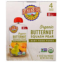Earths Best, Органическое детское пюре из мускатной тыквы и груши, для детей от 6 месяцев, 4 пакета по 4,0 унции (113 г)