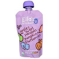 Ellas Kitchen, Органическое cупернежное пюре: яблоки, сладкий картофель, тыква и черника, 3,5 унции (99 г)