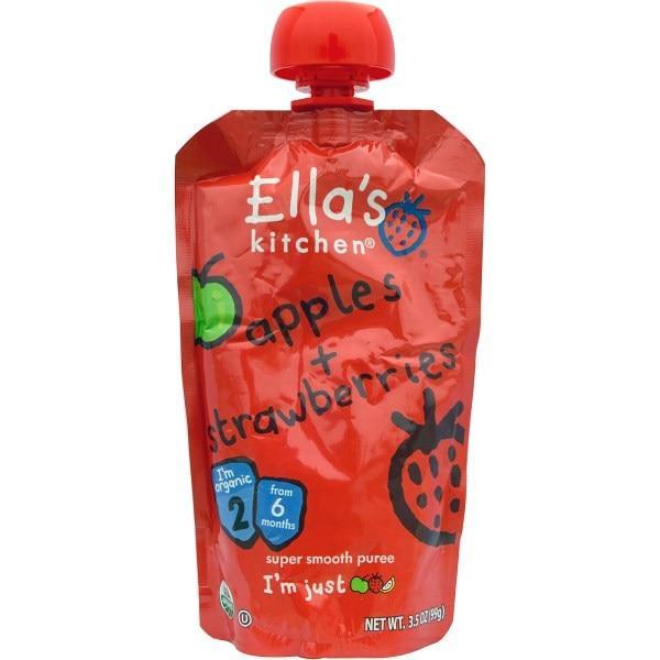 Ellas Kitchen, Яблоки + клубника, нежнейшее пюре, стадия 2, 3,5 унции (99 г)