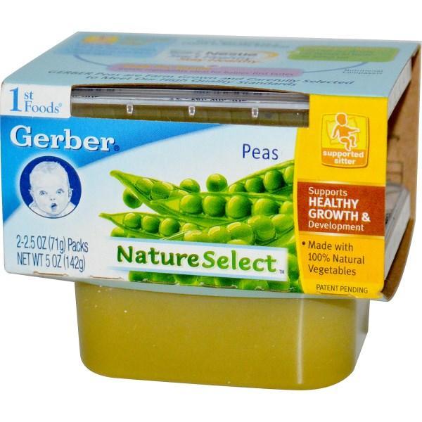 Gerber, Природный выбор, первая пища, горох, 2 упаковки по 2.5 унции (71 г) - Интернет-магазин для здоровой жизни в Киеве