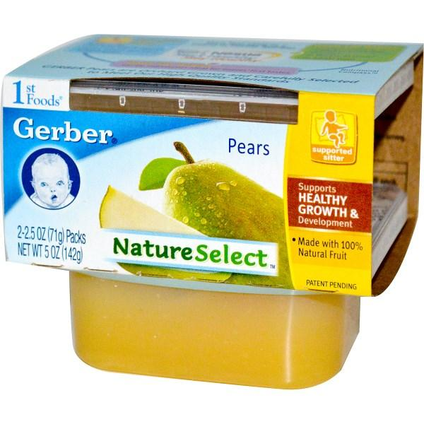 Gerber, 1st Foods, Выбор природы, Груши, 2 пачки, каждая по 2,5 унции (71 г)