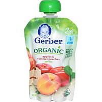 Gerber, Основное питание, Органическое детское пюре из яблок и летних персиков, 3,5 унции (99 г)