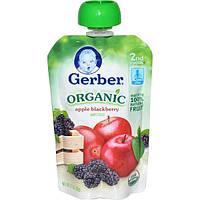 Gerber, Второе блюдо, натуральное детское питание, с яблоком и черникой, 3.5 унции (99 г)