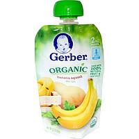 Gerber, Органическое детское питание с бананом и кабачком 2nd Foods, 3.5 унции (99 г)