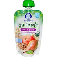 Gerber, Основное питание, Фрукты и злаки, Органическое детское пюре из груши, персика и овсяных хлопьев, 3,5 унции (99 г)