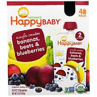 Nurture Inc. (Happy Baby), Органическое детское питание с бананом, свеклой и черникой, 4 пакета по 4 унции (113 г)