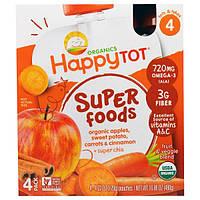 Nurture Inc. (Happy Baby), Суперпродукт из серии Счастливый карапуз, органическая фруктово-овощная смесь c органическим яблоком, бататом, морковью и