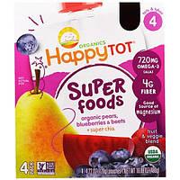 Nurture Inc. (Happy Baby), Фруктово-овощная смесь из серии Счастливый карапуз c органической грушей, черникой и свеклой с добавлением супер-семян чиа,
