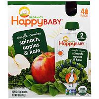Nurture Inc. (Happy Baby), Простые комбинации из серии Органика для счастливого малыша, органическое детское питание со шпинатом, яблоком и кудрявой