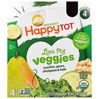 Nurture Inc. (Happy Baby), Обожаю свои овощи из серии Счастливый карапуз, фруктово-овощная смесь с кабачком, грушей, нутом и кудрявой капустой, 4