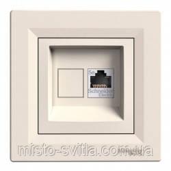 Розетка компьютерная RJ45 кат. 5Е UTP 1 гнездо крем Sсhneider Electric Asfora Шнайдер Асфора