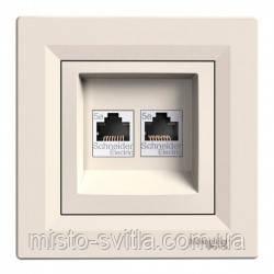 Розетка компьютерная RJ45 кат. 5Е UTP 2 гнезда крем Sсhneider Electric Asfora Шнайдер Асфора