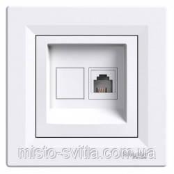 Розетка телефонная RJ11 1 гнездо белый Sсhneider Electric Asfora Шнайдер Асфора