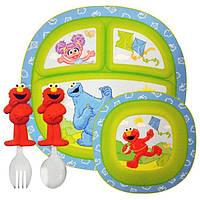 Munchkin, Улица Сезам, Набор детской посуды, 4 предмета