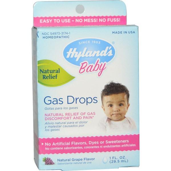 Hylands, Краплі для полегшення при газах у новонароджених, натуральний виноград. ароматизатор, 1 унція (29,5 мл)