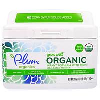 Plum Organics, Органическая мощная детская смесь с железом на основе молока Расти хорошо, 21 унция (595 г)