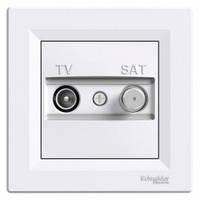 Розетка телевизионная - спутник TV-SAT оконечная, белый, Sсhneider Electric Asfora Шнайдер Асфора