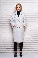 """Пальто """"614"""" (бело-серый)"""