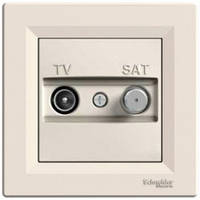 Розетка телевизионная - спутник TV-SAT оконечная, крем, Sсhneider Electric Asfora Шнайдер Асфора