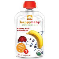 Nurture Inc. (Happy Baby), Органическое детское питание, Пюре из бананов, свеклы и черники, Этап 2, 6+ месяцев, 3,5 унции (99 г)