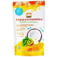 Nurture Inc. (Happy Baby), Торговая марка happycreamies, Закуска с овощами и фруктами, Яблоко, шпинат, горох и киви, 1 унция (28 г)