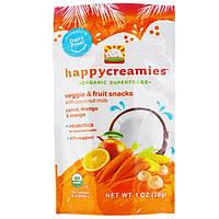 Nurture Inc. (Happy Baby), happycreamies, Закуска с овощами и фруктами, Морковь, манго и апельсин, 1 унция (28 г)