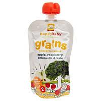 Nurture Inc. (Happy Baby), Натуральное детское питание, злаки по-домашнему, с яблоком, малиной, амарантом и листовой капустой, 3.5 унций (99 г)