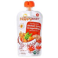 Nurture Inc. (Happy Baby), Детская органическая еда, карри из курицы и овощи с коричневым рисом, этап 3, 7+ месяцев, 4 унции(113 г)