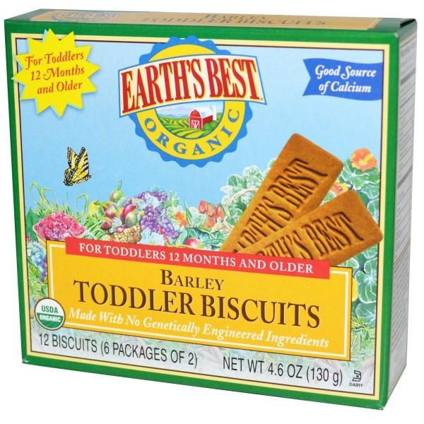 Earths Best, Органическое детское ячменное печенье, 12 печенек (6 упаковок по 2 штуки)