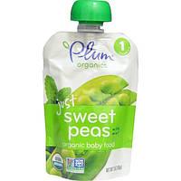 Plum Organics, Органическое детское питание, стадия 1, только сладкий горошек с мятой, 3 унции (85 г)
